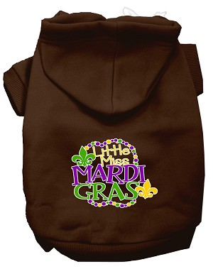 Miss Mardi Gras Screen Print Mardi Gras Dog Hoodie Brown M
